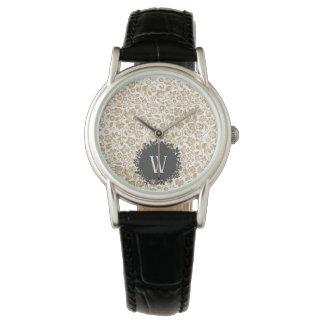 Gold Floral Pattern with Dark Gray Circle Monogram Watch