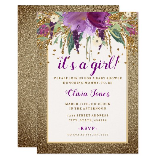 Gold Floral Sparkling Amethyst Baby Shower Invite