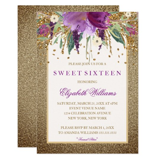 Gold Floral Sparkling Amethyst Sweet Sixteen Card