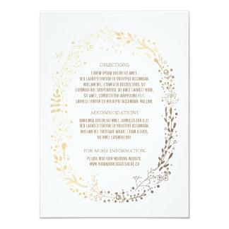 Gold Floral Wreath Elegant Bouquet Wedding Details 11 Cm X 16 Cm Invitation Card