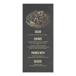 Gold Florals wedding menu cards