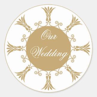 Gold Flourish Design-Our Wedding Round Sticker
