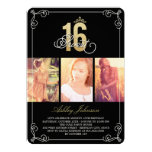 Gold Flourish Glam Sweet 16 Photo Birthday Party 13 Cm X 18 Cm Invitation Card