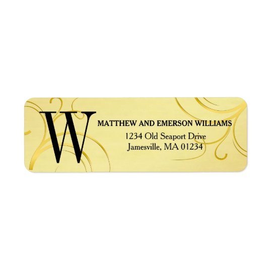 Gold Flourish Monogram Return Address Labels