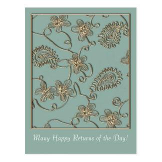 Gold Flourish Mother's Day Postcard