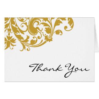 Gold Flourish Swirl Thank You Card