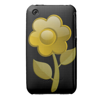 Gold Flower Blackberry CurveCase-Mate Case Black Case-Mate iPhone 3 Case