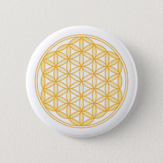 GOLD FLOWER OF LIFE 6 CM ROUND BADGE