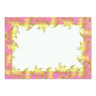 Gold flower ornament 13 cm x 18 cm invitation card