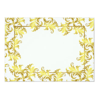 Gold flower ornament 13 cm x 18 cm invitation card