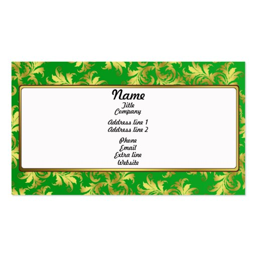 Gold flower ornament business card