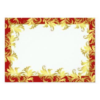 "Gold flower ornament 5"" x 7"" invitation card"