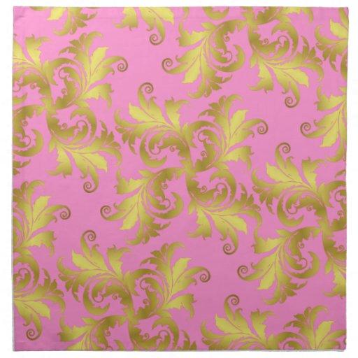 Gold flower ornament napkin