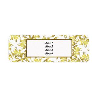 Gold flower ornament return address label