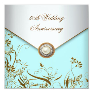 Gold Flower Pearl Teal 50th Wedding Anniversary 5.25x5.25 Square Paper Invitation Card