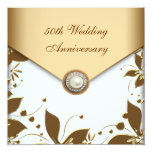Gold Flower Pearl White 50th Wedding Anniversary Custom Announcements