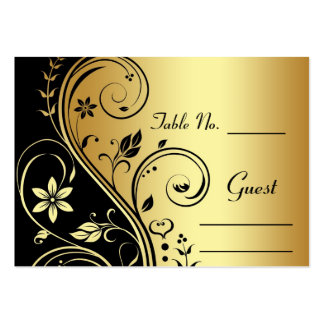 Gold Flower Scrollwork Wedding Table Place Card Business Card Templates
