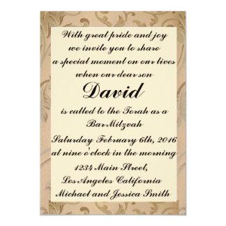 Gold Flowers Bar/Bat Mitzvah Invitations