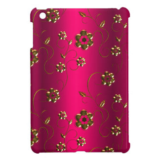 Gold Flowers on Pink Cover For The iPad Mini