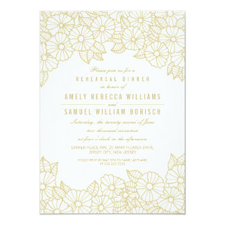 Gold Flowers on White Rehearsal Dinner Invitation