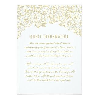 Gold Flowers on White Wedding Insert Card 11 Cm X 16 Cm Invitation Card