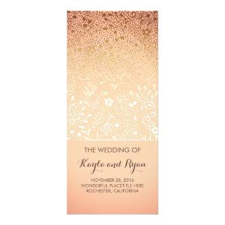 Gold Flowers Vintage Blush Wedding Programs Rack Card