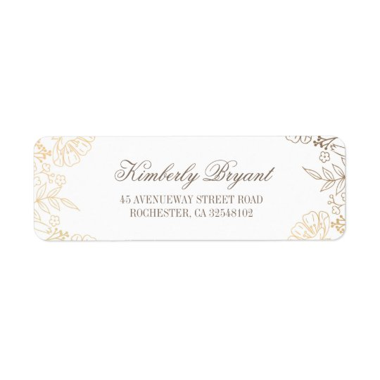 Gold Flowers Vintage White Wedding Return Address Label