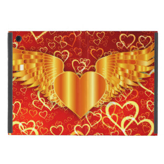 Gold Flying Heart iPad Mini Case with No Kickstand