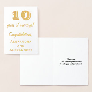 Gold Foil 10th Wedding Anniversary + Custom Names Foil Card