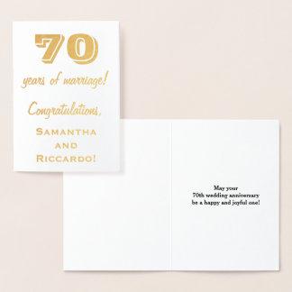 Gold Foil 70th Wedding Anniversary + Custom Names Foil Card