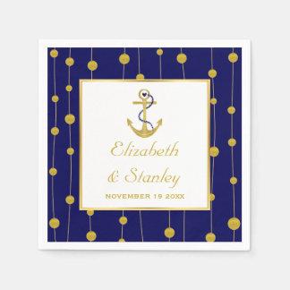 Gold foil anchor nautical modern wedding disposable serviette
