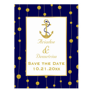 Gold foil anchor nautical wedding Save the Date Postcard