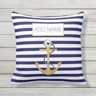 Gold foil anchor striped pattern trendy nautical cushion