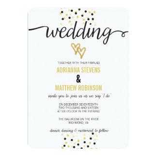 Gold Foil and Black Confetti Dots Wedding Invite
