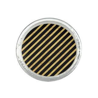 Gold Foil and Black Diagonal Stripes Pattern