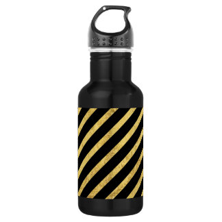 Gold Foil and Black Diagonal Stripes Pattern 532 Ml Water Bottle