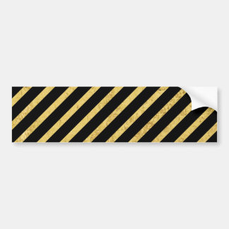 Gold Foil and Black Diagonal Stripes Pattern Bumper Sticker
