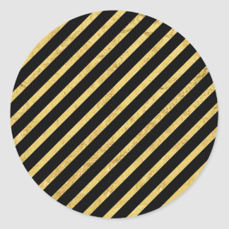 Gold Foil and Black Diagonal Stripes Pattern Classic Round Sticker