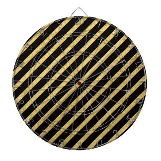 Gold Foil and Black Diagonal Stripes Pattern Dartboard