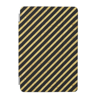Gold Foil and Black Diagonal Stripes Pattern iPad Mini Cover