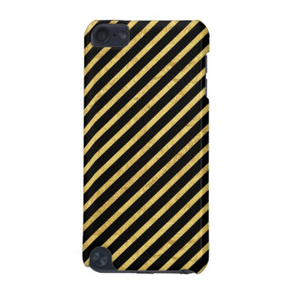 Gold Foil and Black Diagonal Stripes Pattern iPod Touch (5th Generation) Cases