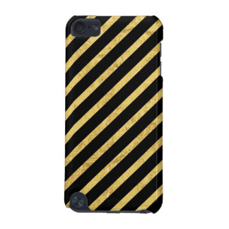 Gold Foil and Black Diagonal Stripes Pattern iPod Touch (5th Generation) Covers