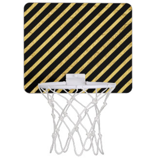 Gold Foil and Black Diagonal Stripes Pattern Mini Basketball Hoop