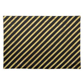 Gold Foil and Black Diagonal Stripes Pattern Placemat