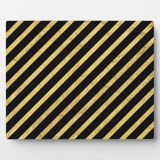 Gold Foil and Black Diagonal Stripes Pattern Plaque