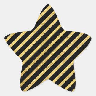 Gold Foil and Black Diagonal Stripes Pattern Star Sticker