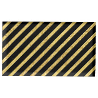 Gold Foil and Black Diagonal Stripes Pattern Table Card Holders