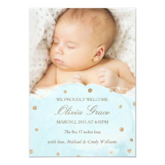 Gold Foil and Blue Watercolor Birth Announcements