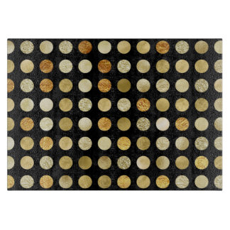 Gold Foil and Glitter Polka Dots Black Cutting Board
