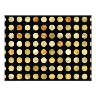 Gold Foil and Glitter Polka Dots Black Photo Print
